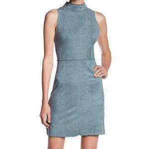 Soprano Mock Collar Faux Suede Blue Dress